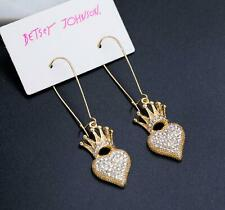 Betsey Johnson Crystal Rhinestone Love Heart Crown Drop Earrings Fashion Jewelry