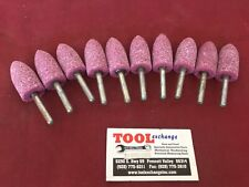 "New  10pc 1/4"" Shaft Mounted Grinding Stone Bullet Shape USA made"