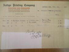 Vintage movie letterhead Antigo printing company printers designers 12-14-1911