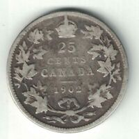 CANADA 1902 25 CENTS QUARTER KING EDWARD VII CANADIAN STERLING SILVER COIN