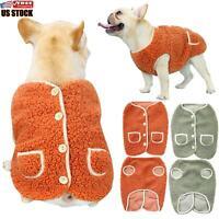 US Small Pet Dog Coat Winter Soft Warm Jacket Fleece Clothes Cute Coat Sweater