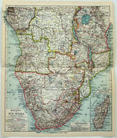 Central & South Africa - Original 1922 German Map by Meyers. Rhodesia