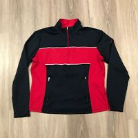 Nike Dri Fit Womens Large (12-14) 1/2 Zip Athletic Pullover Top Navy Red