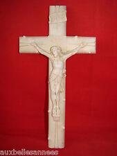 ANCIEN CRUCIFIX PLATRE ABBÉ MASSET CURÉ A BERZIEUX 1915 / RELIGION CHRIST