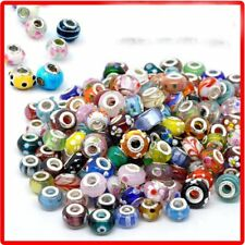 50Pcs/Set Lots Murano Glass Beaded Charms Spacer Beads For Bracelet Bangle Gift