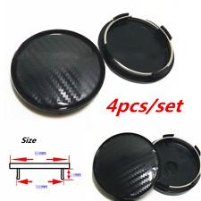 4 Pcs Black Carbon Fiber Look Auto Car Wheel Hub Center Caps Cover 60MM Plastic