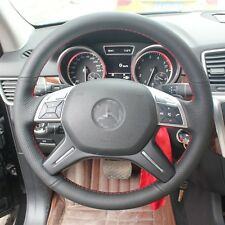 1 set Black Leather Wrap Steering Wheel Cover Stitch on For Benz ML350