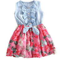 One Piece Baby Girls Kid Flower Dress Pricness Summer Cute Sleeveless Dress 0-7Y