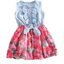 Cute Kids Girl Dress Printed Cowboy Half Dresses  Sleeveless Summer  Bowknot