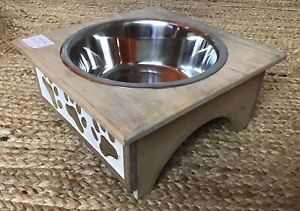 Raised Dog Pet Metal Bowl Ethically Made Carved Wood Stand