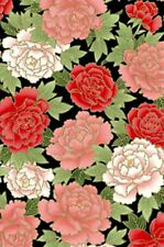 Fabric #2379 Asian Floral Red Gold Metallic Kona Bay End of Bolt at 58 Inches