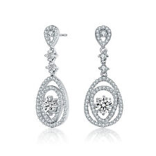 f94ad5d50 Rozzato Sterling Silver Clear Round CZs with Accent Double Pear Drop  Earrings