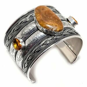 Fossil Coral, Honey Topaz 925 Sterling Silver Jewelry Cuff Bracelet Adjst