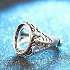 Adjustable Jewelry Carved Totem Blanks Set Hollow Rings Inlaid  Antique Silver