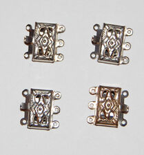 VINTAGE 3 THREE STRAND SILVER TONE METAL JEWELRY NECKLACE CLASP FOUR COUNT