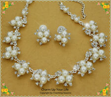 18K Gold P Swarovski Crystals & Pearls Clip On Earrings & Necklace Set 4 Wedding