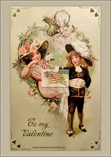 REPRINT PICTURE of old postcard TO MY VALENTINE boy holding roses girl 1913 5x7