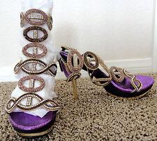 NIB purple gold rhinestone strappy platform heels shoes 6