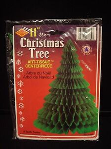 Vintage Beistle Honeycomb Tissue Christmas Tree Up North Party Table Decoration