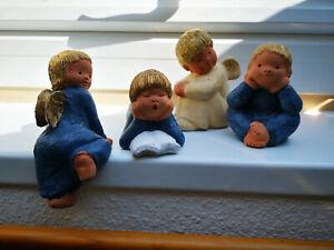 Konvolut Singer 4 Engel von Jullar - liegend/ sitzend Kantenhocker - blau/creme