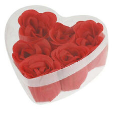 EG_ GN- 6 PCS CREATIVE RED ROSE PETAL SCENTED SOAP BATH HEART SHAPE STORAGE BOX