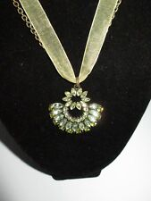 Statement Necklace Pendant Gray Rhinestone Crystal Shiny Chain Green Ribbon CHIC