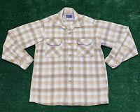 Vintage Pendleton Plaid Button Down Shirt Sz Mens M Virgin Wool Made In USA