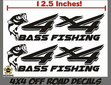 4x4 Truck Decal Set, Bass Fishing, MATTE BLACK for Ford F-150 Super Duty F-250