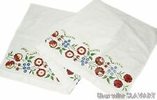 European hand-embroidered folk art textile floral tablecloth Czech peasant skirt