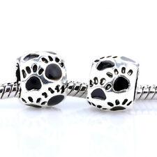 2pcs 925 Silver Dog paw Black Enamel Spacer Charm Bead For Bracelet Necklace