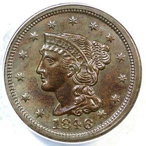 1846 N-8 ANACS AU 55 Braided Hair Large Cent Coin 1c