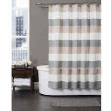 Baltic Linen Yarn-Dyed Strata Striped Shower Curtain Grey/Taupe