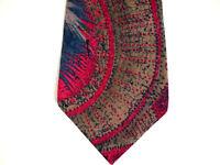 """Paolo da Ponte Mens Necktie Tie Red Blue Beige Abstract 57"""" 100% Silk"""