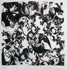 NWOT Fab CARLISLE Silk Square Scarf Black White Brown Floral Pattern RARE Find