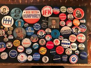 LARGE LOT OF political PIN-BACKS / BUTTONS - 130 BUTTONS