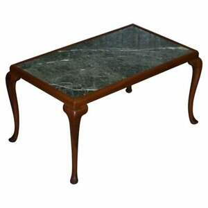 LOVELY VINTAGE WALNUT FRAMED WITH SOLID MARBLE TOP COFFEE OR COCKTAIL TABLE