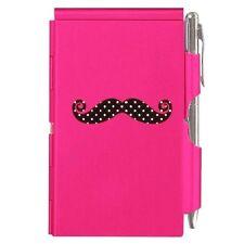#1631 Wellspring Flip Note w/Pen-Pink w/ Black Mustache & White Polka Dots
