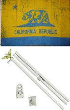 3x5 State of California Blue Gold Flag White Pole Kit Set 3'x5'