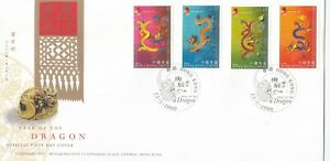 """HONG KONG, 2000, """"YEAR OF DRAGON"""" STAMP SET, MINT NH AND STAMP ON GPO FDC GOOD"""