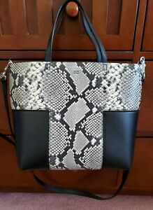 Tory Bruch Embossed Mini Tote, Black Snakeskin Leather, Toggle Closure