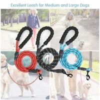 Pet Dog Nylon Rope Training Leash Slip Lead Strap Reflective Traction Black red