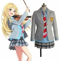 Anime Your Lie In April Cosplay Costume Kaori Miyazono School Uniform Outfit