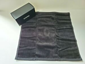 Chanel CC LOGO Black Cotton Face Towel 40cm Square (NIB)