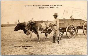 "DODGE CITY, KS RPPC Postcard ""Crossing the Great American Desert"" Martin Photo"