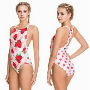 Adidas By Stella Mccartney Swimsuit Ladies Sc Swim Suit Bikini Roses Stars White