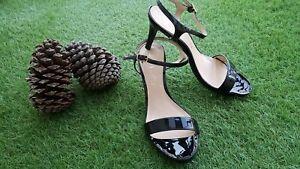 Super escarpins / sandales UNISA Cuir verni noir P38  NEUVES
