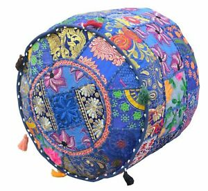 Indian Patchwork Ottoman Handmade Vintage Cotton Pouf Cover Round Foot Stole New