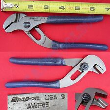 """New Snap On Blue Handle Straight Serrated Jaws Adjustable Joint Pliers 7"""" AWP65"""