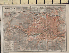 1925 GERMAN MAP ~ ELBERFLED CITY PLAN STATIONS CHURCHES THEATRE POST