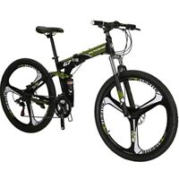 "27.5"" Folding Mountain bike Hybrid 21 Speed Mens Bicycle Full Suspension MTB L"